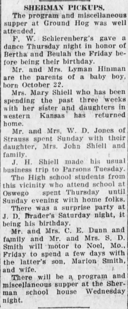 The Parsons Daily Sun (Parsons, Kansas) 26 October 1922, p 4. -