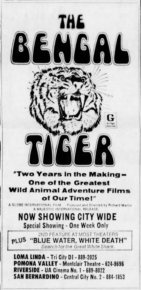 """""""The Bengal Tiger"""" and """"Blue water, white death"""" double-feature advertisement (1973) -"""