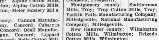 cotton mills in nc; 6 sept 1900 -