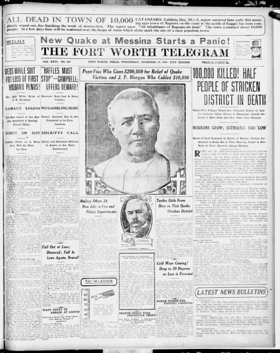 Fort Worth Telegram reports on devastating earthquake and tsunami in Italy -