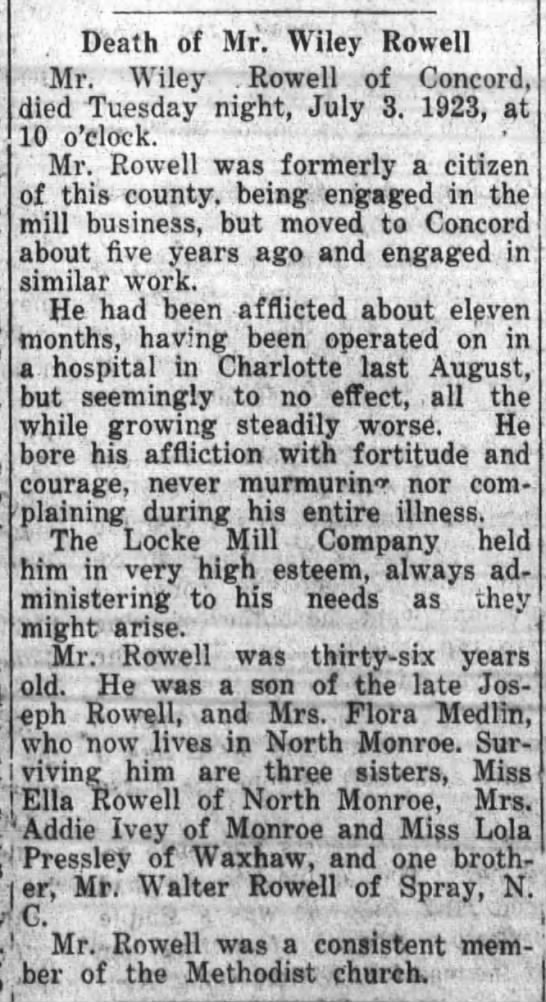 Wiley Rowell 1923 -