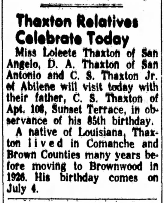 Thaxton Relatives Visit Today -