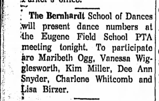 Bernhardt School of Dances, @ Eugene Field, Ottawa Herald, 13May63 -