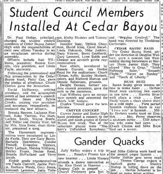 Lynn Zubik -- Student Council Cedar Bayou Jr High -