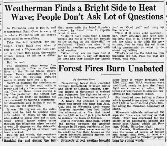 Record heat in Fort Worth 1936 - temps reach 112 -