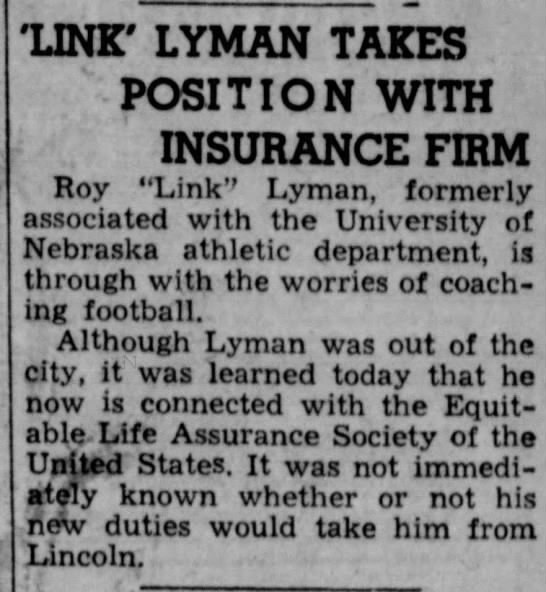 'Link' Lyman Takes Position With Insurance  Firm -
