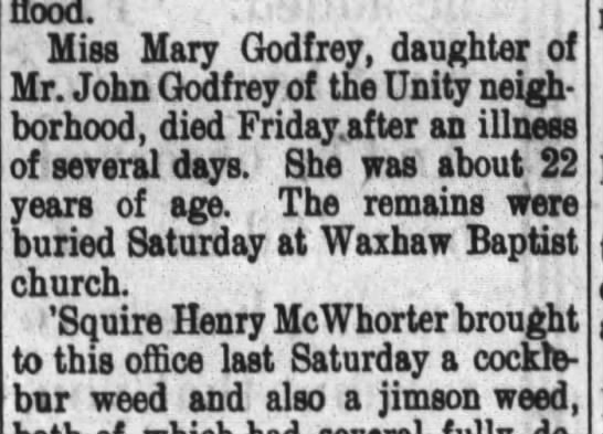 Mary Ann Godfrey obit 1910 -