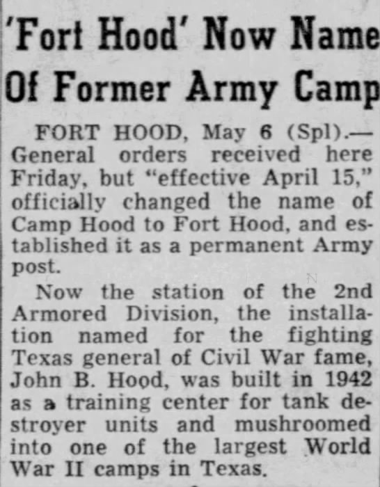 Fort Hood renamed from Camp Hood -