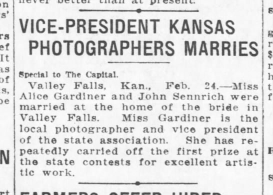 John Sennrich & Alice Gardiner - married -