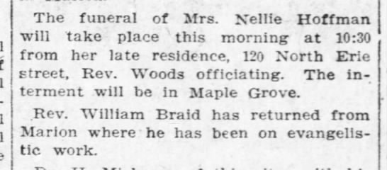 Nellie Hoffman Funeral 24 May 1908 -