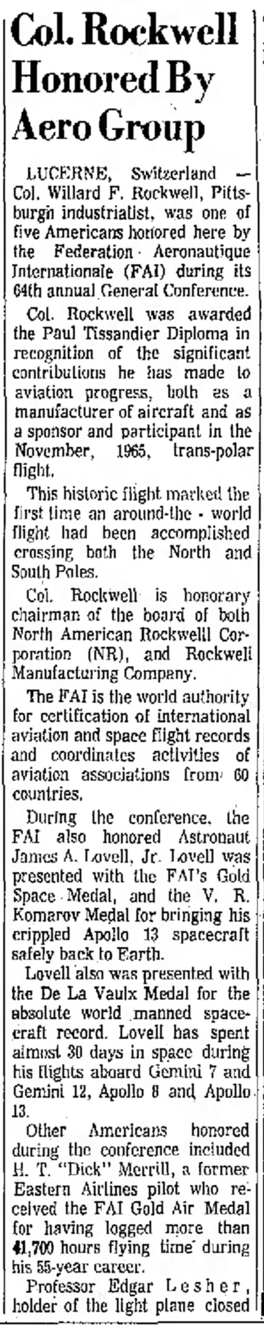 """""""Col. Rockwell Honored by Aero Group"""" page 16 -"""