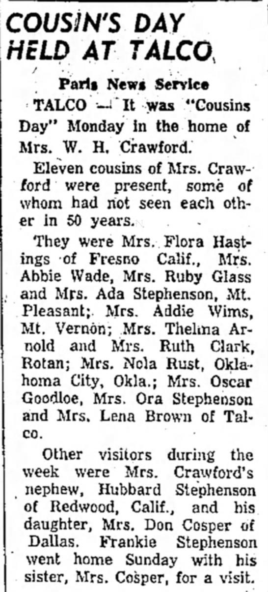 Hubbard Stephenson visits relatives in Talco, TX - 1956 -