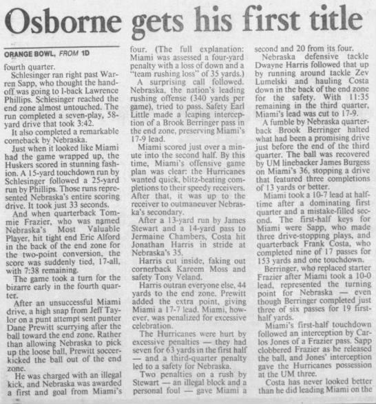 1995 Orange Bowl, Miami, Osborne -