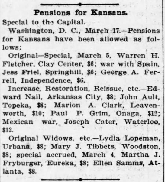 Pensions For Kansas ~ 1902 -