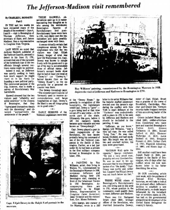 The Jefferson-Madison visit remembered, Bennington Banner 8 Jun 1977 p. 4 - the O R A T I O N going on York as York the...