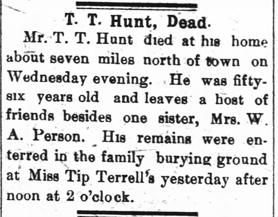 Tolliver T. Hunt Death (8 Oct 1909, The Franklin Times, Louisburg, NC) -