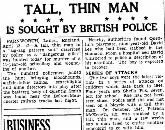 Tall, Thin Man Is Sought By British Police -