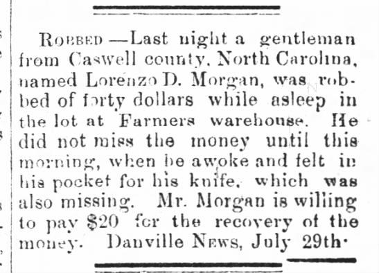 Lorenzo D Morgan robbed - The Milton chronicle 5 Aug 1880 -