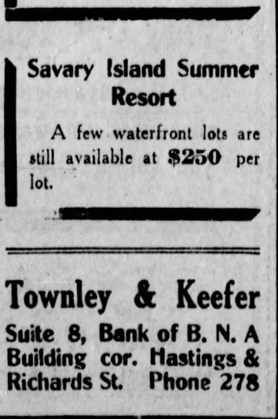 Vancouver Daily World  29 March 1911 page 22   Townley & Keefer lots -