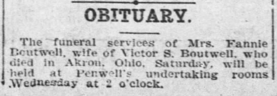Fannie Boutwell Obit 7 November 1905 Topeka Daily Capital page 8 -