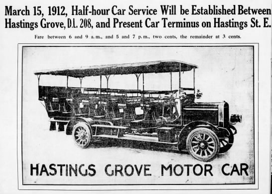Hastings Grove Motor Car, selling real estate through transit -