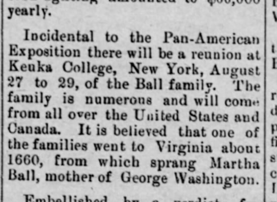 """News items"" Ball Family Reunion At Keuka-1901 -"
