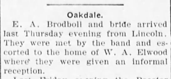 wedding reception held at home of W A Elwood of E A Brodboll and bride  1911 NE -