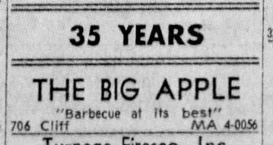 Big Apple restaurant in Fort Worth, TX (1967). -