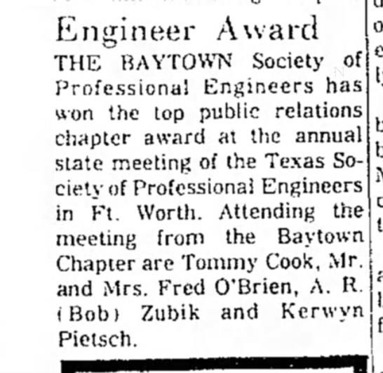A.R. (Bob) Zubik -- Engineer Award -