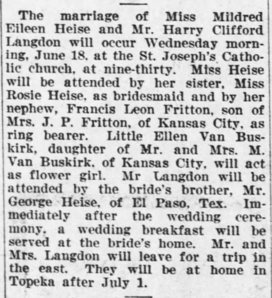 Topeka Daily Capital June 15 1919 pg 4 Harry Clifford Langdon marriage -
