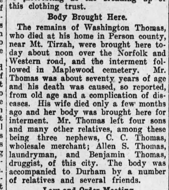 Greensboro Daily Jan 19 1908 Washington K Thomas died -