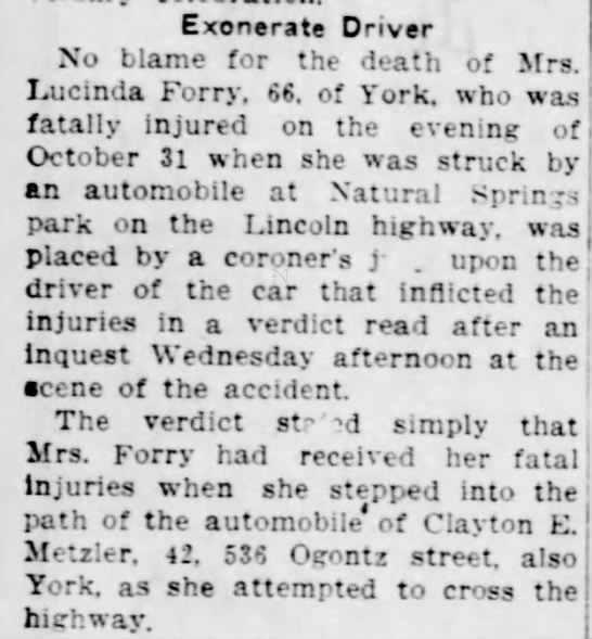 No blame in death of Lucinda Forry-Nov 1937 -