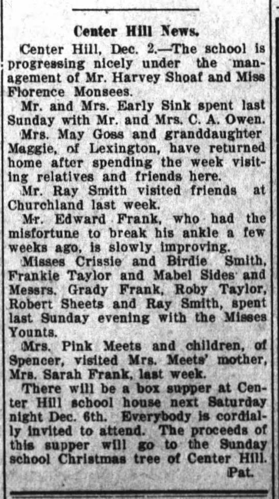The Dispatch (Lexington, North Carolina) 03 Dec 1913, Wed Page 8. Mrs. Sarah Frank had visit from daughter and grandchildren. -