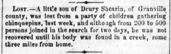Shearin, Drury - son drowned in creek -