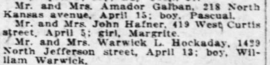 Margaret Hafner birth announcement.  Daughter of John Hafner.  419 Curtis in Topeka (Saved to FTM) -