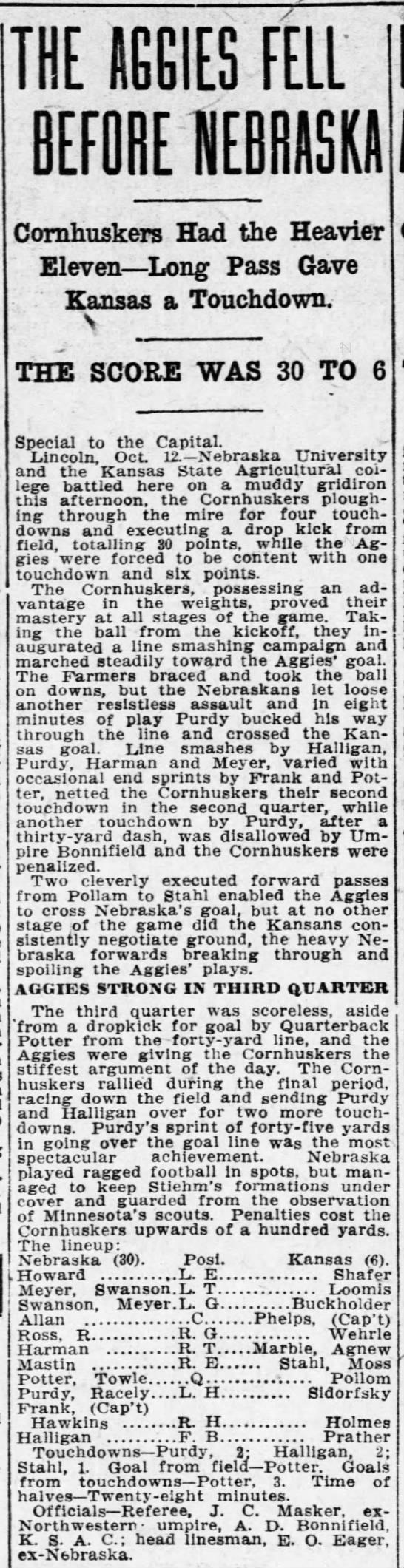 1912 Nebraska-Kansas State, Topeka paper -