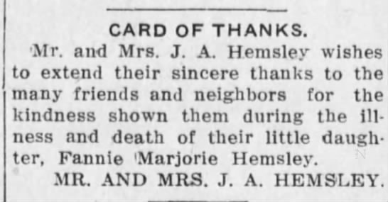 1915 Jan 23 Kansas City Sun Mr and Mrs J A Hemsley Card of Thanks -