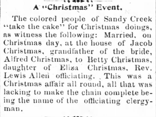 A Christmas Event (2 Jan 1896, Henderson Gold Leaf, Henderson, NC) -