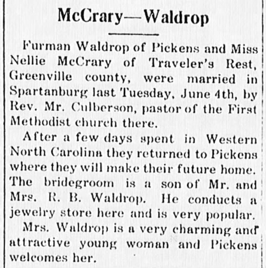 Nellie McCrary & Furman Waldrop marriage 4 Jun 1918 -