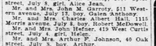 Helen Hefner-birth.  Daughter of John Hefner, 419 West Curtis -