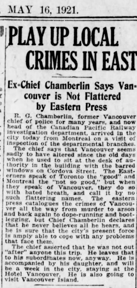 Ex-Police Chief R G Chamberlin says Vancouver is not flattered by Eastern Press -