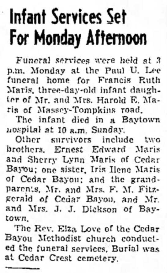 Obit - Baytown Sun - 6 September 1954 -