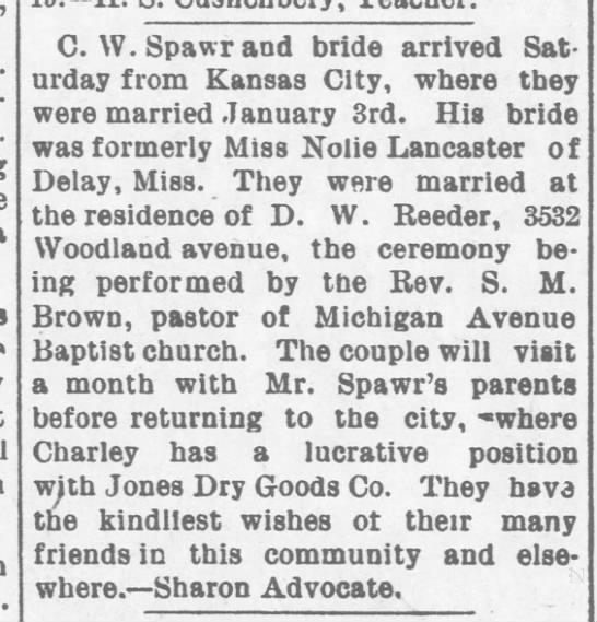 C. W. (Charley) Spawr marriage -