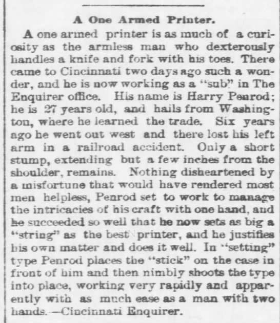 Harry Penrod- article  about working while missing an arm. (unknown) -