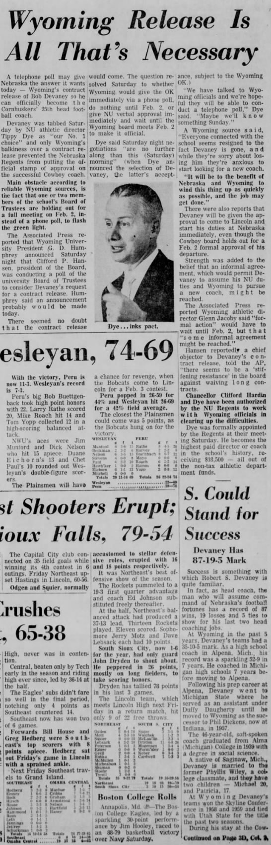 1962 Devaney hired, Wyoming release needed, LJS -
