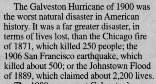 Galveston Hurricane of 1900 is worst natural disaster in U.S. history -