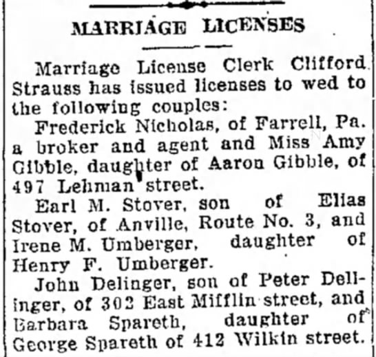 Earl M Stover & Irene M Umberger marriage license -