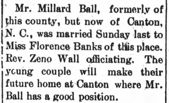 Millard Ball & Florence Banks marries -