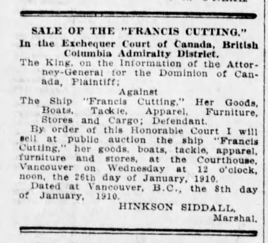 Sale of the Francis Cutting January 26, 1910 -