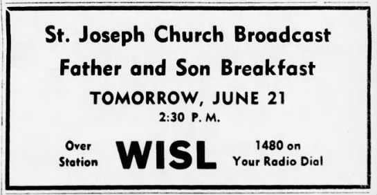 WISL 6-20-53 St Josephs Father and Son Breakfast -
